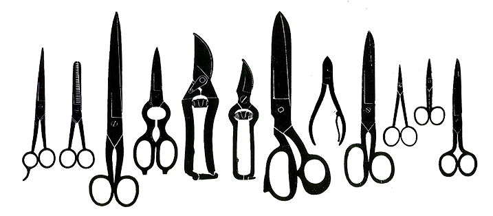 Different types of scissors that are resharpened in the Klotzli workshop